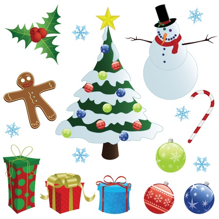 Set of christmas elements. Vector illustration Vector