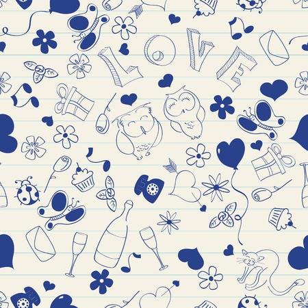 Seamless pattern of doodles on a notebook Vector