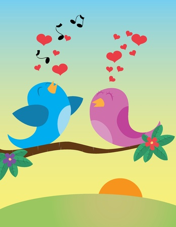 flit: Birds in love. Vector illustration
