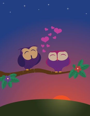 Owls couple in love. Vector illustration Vector