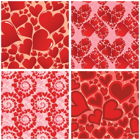 Four seamless hearts patterns. Vector illustration Stock Vector - 11881089