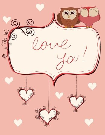 Valentine card with an owls couple. Vector illustration.