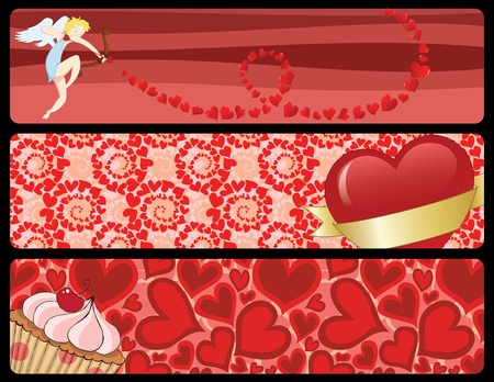 Set of three different Valentine Vector