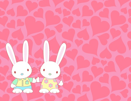 Valentines card with lovely bunnies Vector