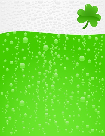 Green beer with foam background
