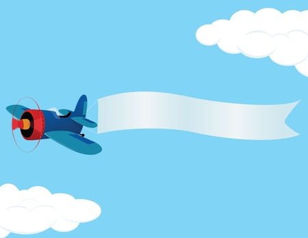 plane cartoon: Retro airplane with a banner. illustration.