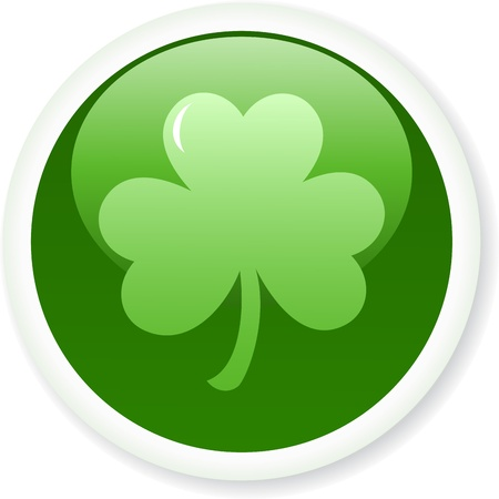 Shamrock or clover button. illustration Stock Vector - 12485199
