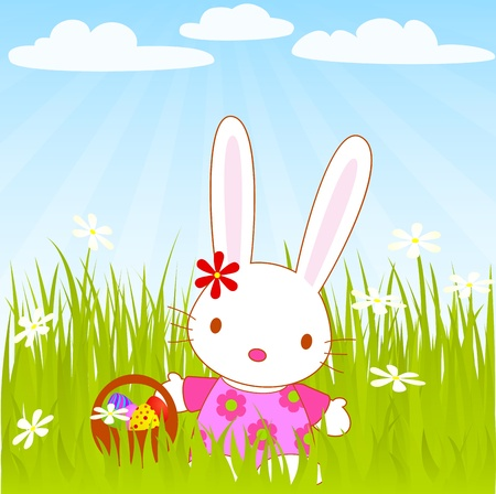 green day baby blue background: Easter miss bunny