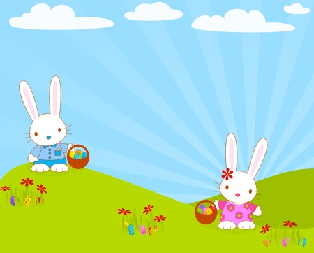 Easter bunnies with their baskets and eggs.  Vector