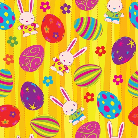 Easter seamless pattern. Global colors. Vector