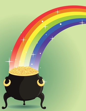 Pot of gold at the end of a rainbow.  Vector