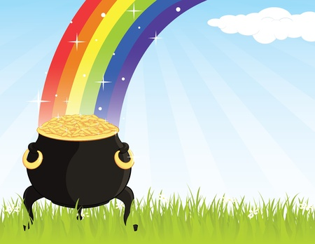 golden pot: Pot of gold on the grass, at the end of a rainbow  Illustration