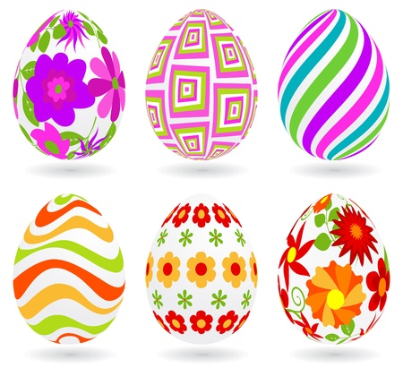easter eggs: Set of Easter eggs. Global colors. Each one on a different layer.