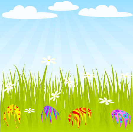 colored eggs: Easter eggs hidden on the grass. Global colors. Illustration