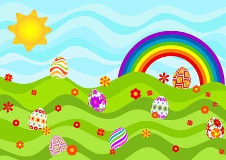 Easter eggs on a sunny day. Stock Vector - 12485309