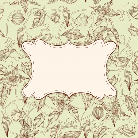 Vintage Art Nouveau floral frame with seamless pattern  Vector