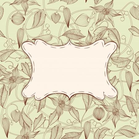 art nouveau design: Vintage Art Nouveau floral frame with seamless pattern