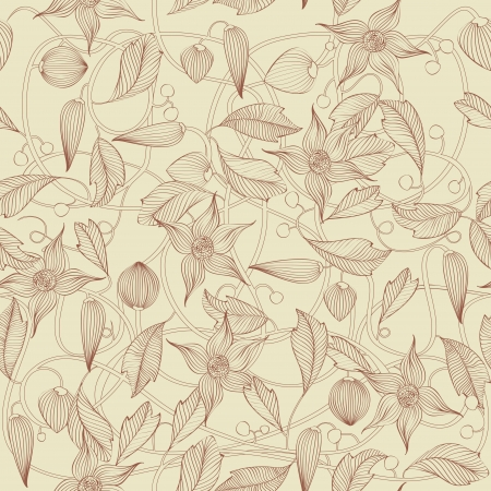 papel tapiz: Estampado de flores retro, sin fisuras