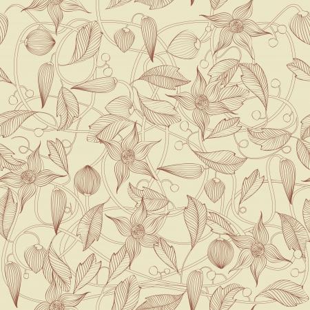 Retro kwiatowy wzór, bez szwu Ilustracje wektorowe