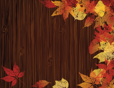 Wooden banner with autumn leaves. EPS10. Stock Vector - 15203410