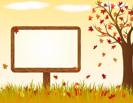 Autumn landscape with wooden banner