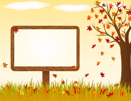 Autumn landscape with wooden banner Vector