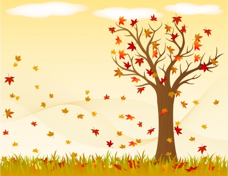 Autumn landscape with wind and leaves Illustration