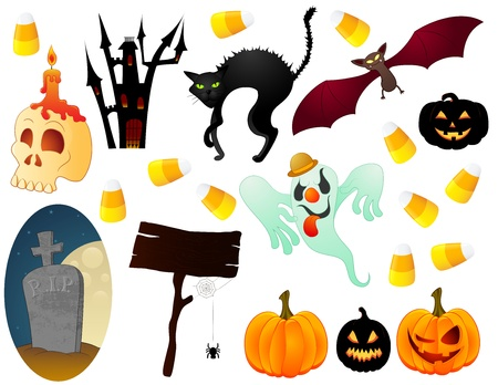 The Halloween spooky icons collection. Vector