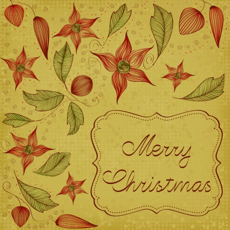 Art Nouveau floral christmas card Vector