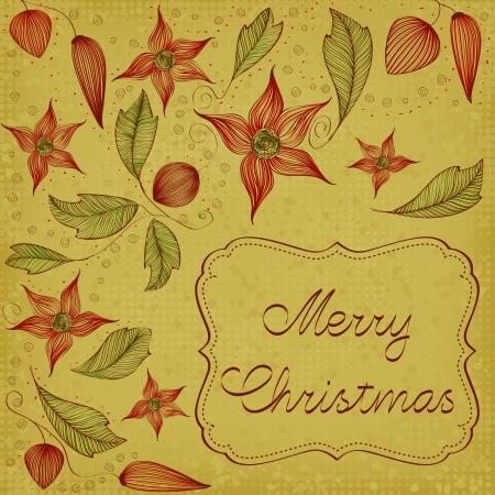 Art Nouveau floral christmas card