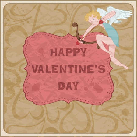 Valentine&acute,s Day card with Cupid Stock Vector - 16583780