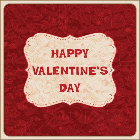 Valentine&acute,s Day card with placard Vector