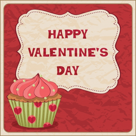 Valentine�s Day card with cupcake Vector