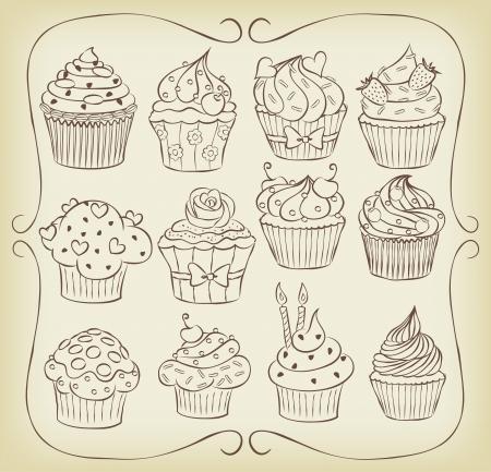 Sketchy yummy Cupcakes gesetzt mit Rahmen. Vektorgrafik