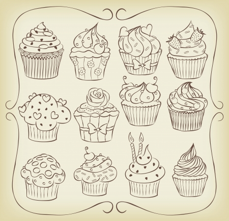 cupcake illustration: Sketchy yummy cupcakes set with frame.