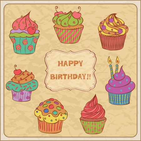dessert muffin: Birthday card with several cupcakes. Illustration