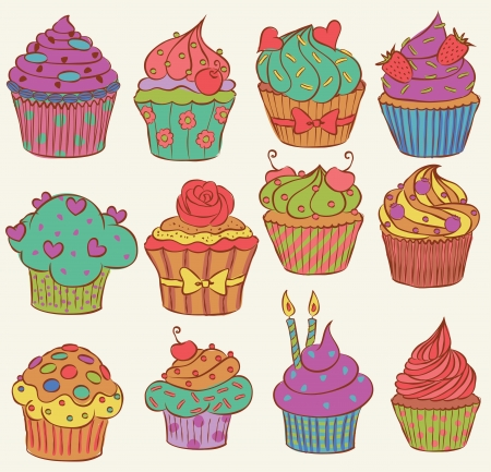 Childish and delicious cupcakes set Vector