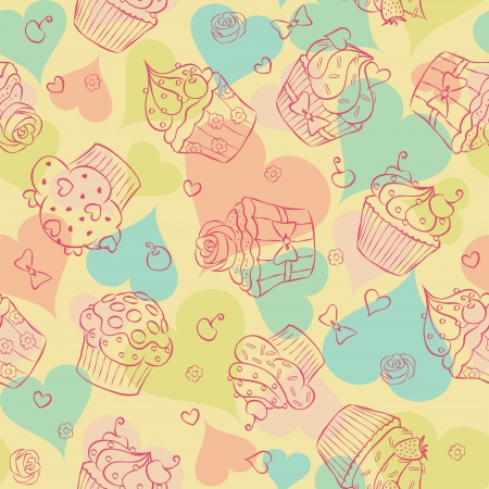 Seamless pattern made of cupcakes and hearts. Vector