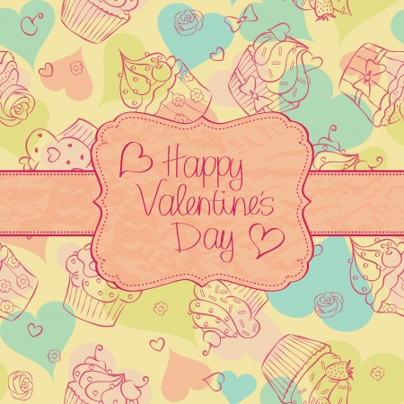 Valentine´s Day card with cupcakes seamless pattern on the background. Vector