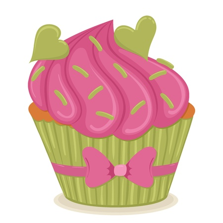 cup cakes: Cupcake with hearts isolated illustration.