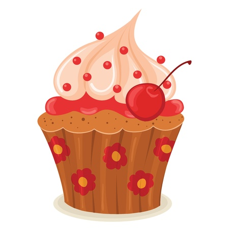 Cupcake with a cherry isolated illustration. Stock Vector - 17469954