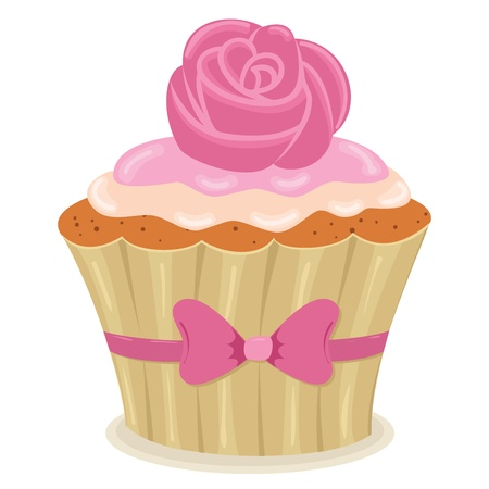 whipped cream: Cupcake with a rose isolated illustration. Illustration