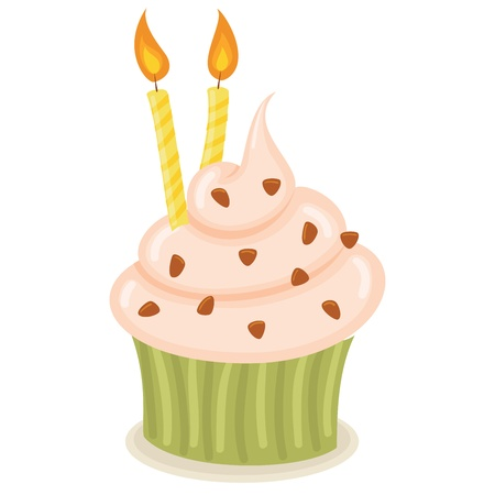 Cupcake with candles isolated illustration. Stock Vector - 17469946