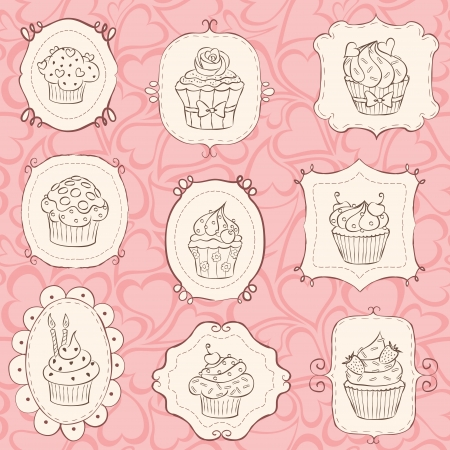 Cupcake set with heart seamless pattern. Vector