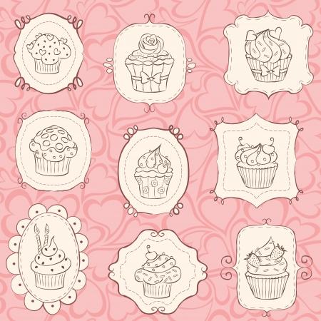 Cupcake set with heart seamless pattern. Illustration