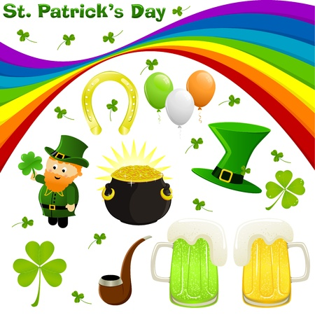 three leafed clover: Icon set for St. Patricks Day