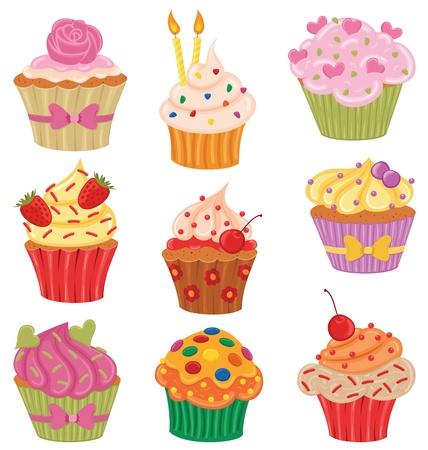 strawberry cake: Shiny happy set of cupcakes.