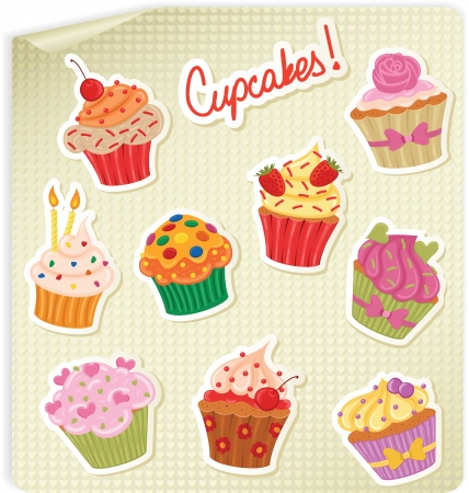 Cupcake stickers on a hearts sheet of paper Stock Vector - 17766357