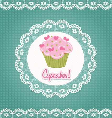 Card with lace and cupcake Banco de Imagens - 17997303