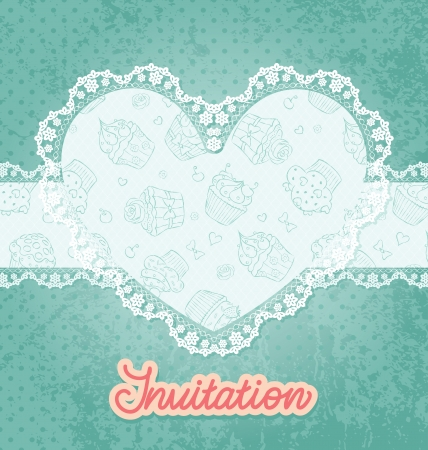 Card with heart shaped lace and cupcake. Vector